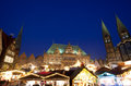 City hall and christmas market in bremen by night cathedral germany Royalty Free Stock Photos
