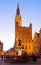 City hall of gdansk at night poland Stock Photos