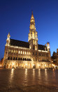 The city hall and Grand Place - Brussels, by night Stock Image
