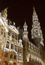 City hall hotel de ville and guildhalls in the grand place in brussels belgium Royalty Free Stock Photos