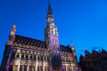 City hall illuminated during light show in brussel brussels at twillight Stock Photos