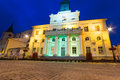 City hall of the old town in lublin at night poland Royalty Free Stock Photos