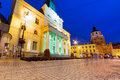 City hall of the old town in lublin at night poland Stock Images