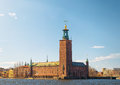 City hall in springtime stockholm scenic spring view of the sweden Royalty Free Stock Image
