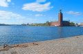 The city hall stockholm sweden october view on from south across riddarfjarden it stands on eastern tip of kungsholmen Stock Photo