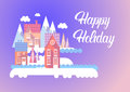 City Happy New Year Merry Christmas Holiday Greeting Card Banner Royalty Free Stock Photo