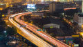 City highway curved aerial view at night Royalty Free Stock Photo