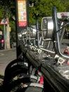 City hire bikes parked in a row saragossa spain Stock Photos