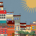 City hot cartoon style drawing of a in the sun Royalty Free Stock Image