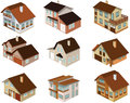 City houses in perspective vector illustration of Royalty Free Stock Image