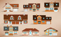 City houses retro colors vector illustration of simple Stock Photos