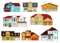 City houses vector illustration of colorful modern collection Royalty Free Stock Images