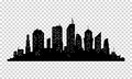 City icon. Vector town Silhouette illustration. Skylines. Skyscraper Royalty Free Stock Photo