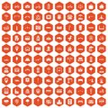 100 city icons hexagon orange