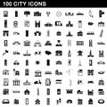 100 city icons set, simple style