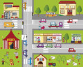 City illustration of fun cartoon cityscape Royalty Free Stock Photo