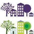 City illustration with houses and trees Royalty Free Stock Images