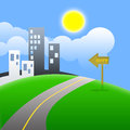 City illustration of the with road and clouds Royalty Free Stock Photo