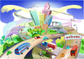 City illustration with roads modern life background collection Stock Photo