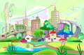 City illustration with roads modern life background collection Stock Image