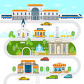 City infographic elements, town vector flat illustration. Railway station, museum, church building, cinema, park, statue