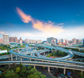 City interchange overpass at dusk in shanghai china Stock Photo