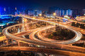 City interchange overpass at night in shanghai Stock Photography
