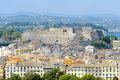 City kerkyra aerial photo town new fortress corfu greece Royalty Free Stock Photos