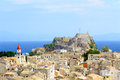 City kerkyra aerial photo town old byzantine fortress corfu greece Royalty Free Stock Image