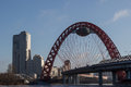 City landscape the bridge of beautiful in moscow a suspension Royalty Free Stock Photos