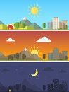 City and landscape in different times of day Royalty Free Stock Photo