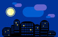 City landscape. Night city under the moon. Some windows are lit. Royalty Free Stock Photo