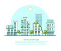 City landscape. Real estate and construction business concept with houses. Line style. Vector illustration.