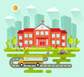 City landscape with school building Royalty Free Stock Photo