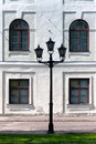 City lantern on the background wall of the palace riga latvia Stock Photos