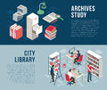 City Library Archives  2 Isometric Banners Royalty Free Stock Photo
