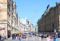 City life a lot of people cars buildings streets the of moscow street near the red square Royalty Free Stock Photography