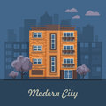 City life. Vector illustration with buildings, detached house