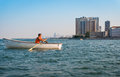 City lifeguards in boats seen in the public beach in the of chicago Royalty Free Stock Image