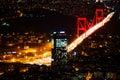 City light and night view above Istanbul, Turkey. Bosphorus brid Royalty Free Stock Photo