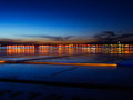 City light sunset at port Zadar Royalty Free Stock Photo