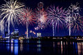 City Lights Skyline With Fireworks Royalty Free Stock Photo