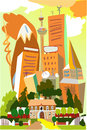City line collection modern city illustration with tall buildings and old house in front Royalty Free Stock Images