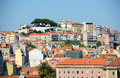 City of lisbon portugal baixa district from miradouro de sao pedro de alcantara Royalty Free Stock Image