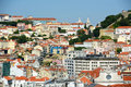 City of lisbon portugal baixa district from miradouro de sao pedro de alcantara Stock Photography