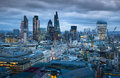 City of london business and banking aria london s panorama in sun set uk january view from the st paul cathedral Royalty Free Stock Image