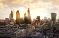 City of london business and banking aria london s panorama in sun set uk january view from the st paul cathedral Stock Image