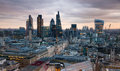 City of london business and banking aria london s panorama in sun set view from the st paul cathedral uk january Stock Images