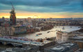 City of london business and banking aria london s panorama in sun set view from the st paul cathedral uk january Royalty Free Stock Photo