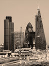 City of London one of the leading centres of global finance.This view includes Tower 42 Gherkin,Willis Building, Stock Exchange Royalty Free Stock Photo